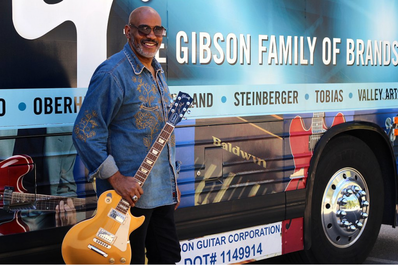 Allan Harris, Gibson Guitar Artist, on the Gibson Bus
