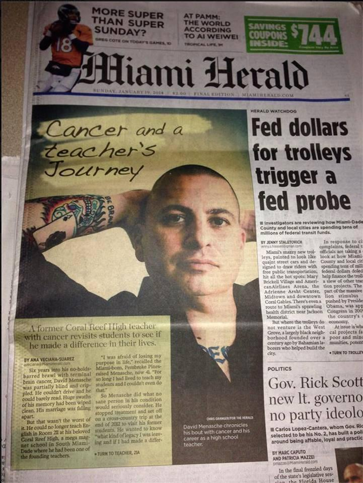 Front page of the Miami Herald this past weekend.