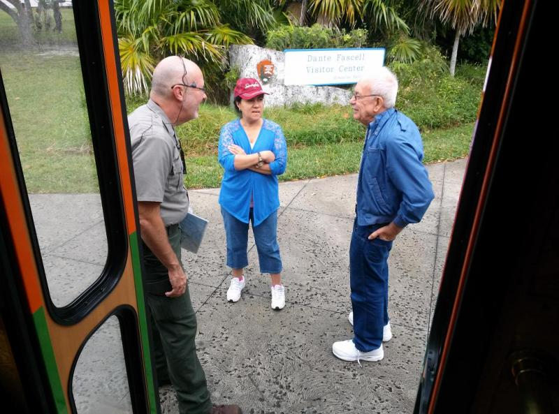 Tour guide Gary Bremen talking with his trolley passengers.