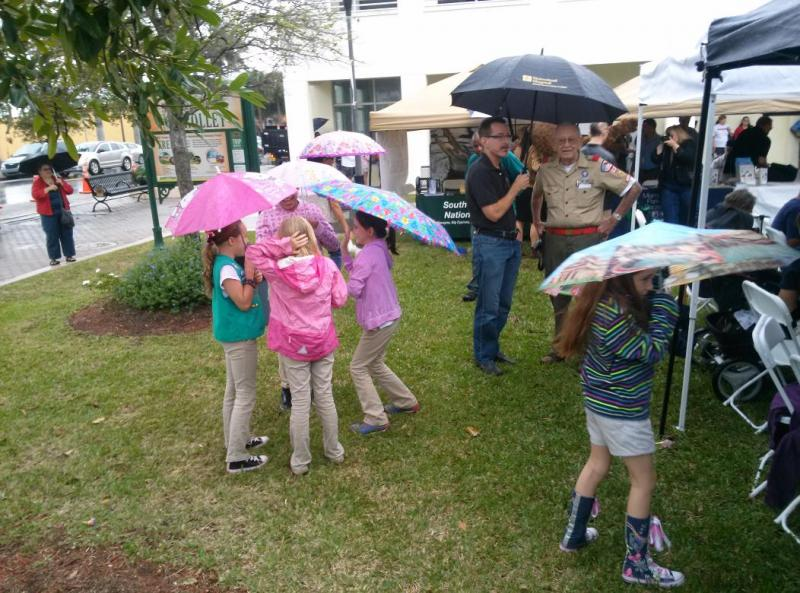 Girl Scouts and Boy Scouts came to show their support.