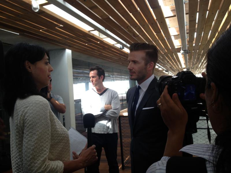 Beckham addresses the press.