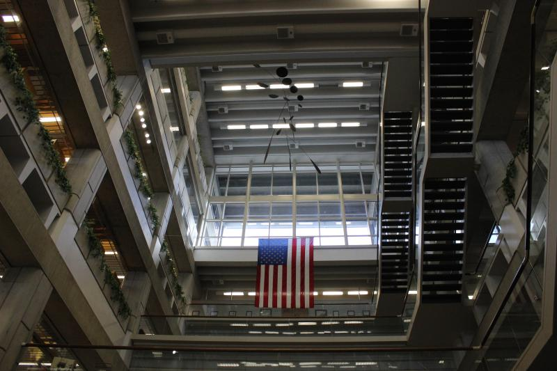 This is the  second floor lobby area. The shot reveals the library's inner framework .