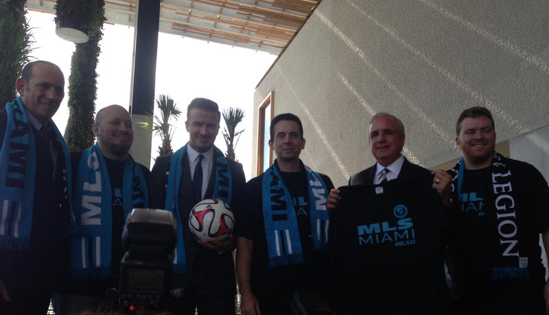 Beckham with MLS representatives and Mayor Gimenez