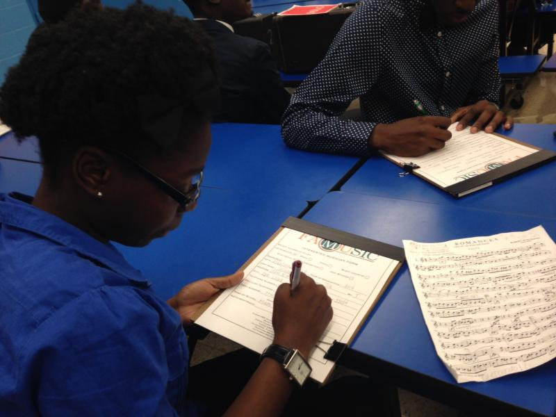 Local high school students signed up for auditions prior to Groove 87's performance.