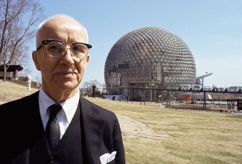 Buckminster Fuller with his Montreal World Fair's Dome.