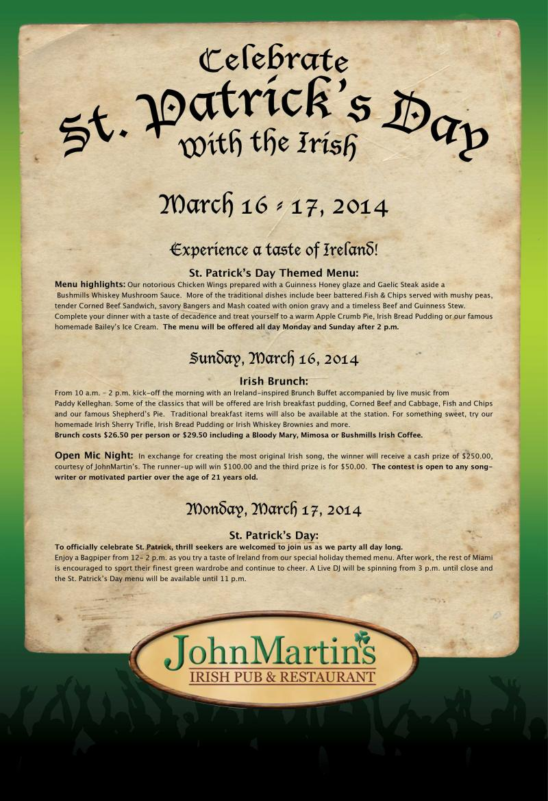 John Martin's Restaurant St. Patrick's Day menu