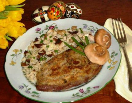 Herb Crusted Lamb Steak with Wild Mushroom Rice Pilaf