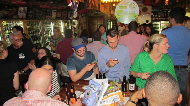 Cellphones were banned during trivia time, but players could text their moms in between rounds.