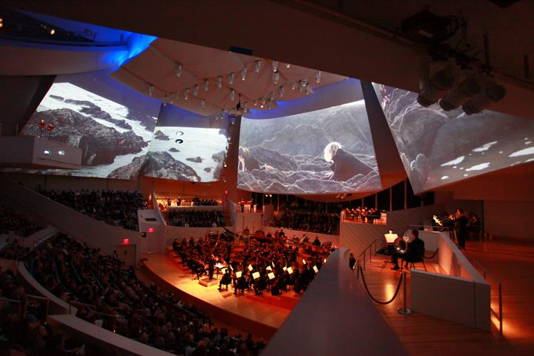 Inside the concret hall -- for the opening, NWS commissioned video from Tal Rosner and music by Thomas Adès.