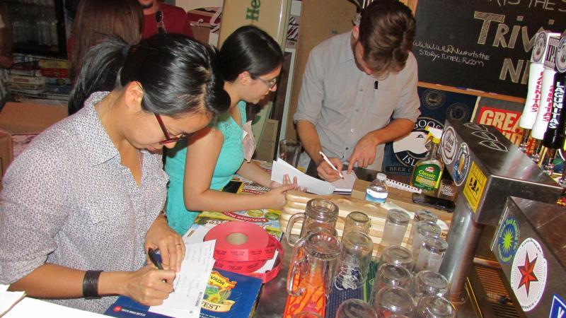Elaine Chen, Stef Ferro and Kenny Malone, the WLRN trivia team.