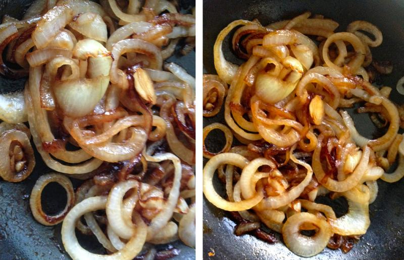 Pictured from left to right, Onions in a skillet going through the cooking process of caramelization.