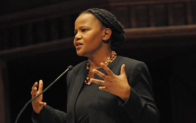 Edwidge Danticat at a speaking event.