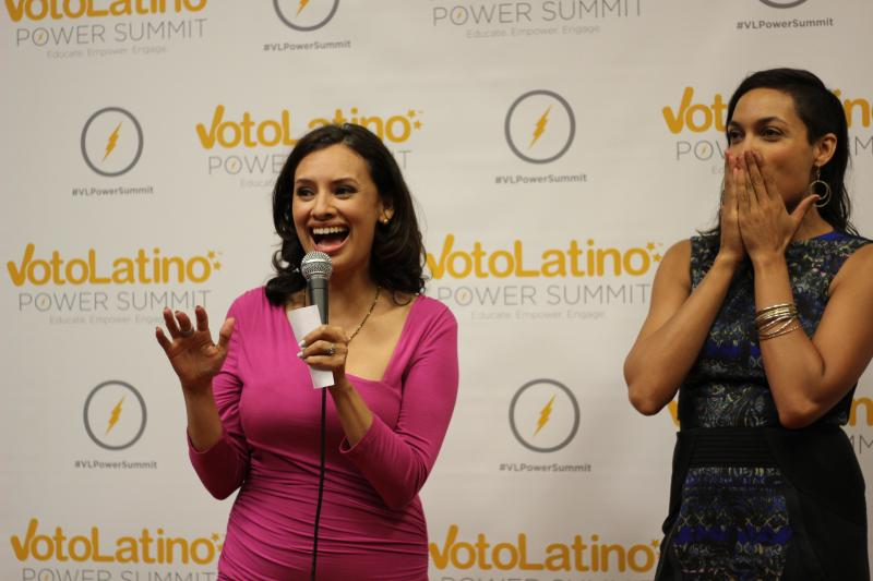 Maria Teresa Kumar, Voto Latino's ceo, and Rosario Dawson, actress and VL's Chairwoman, kicked-off the power summit on June 13, 2014.