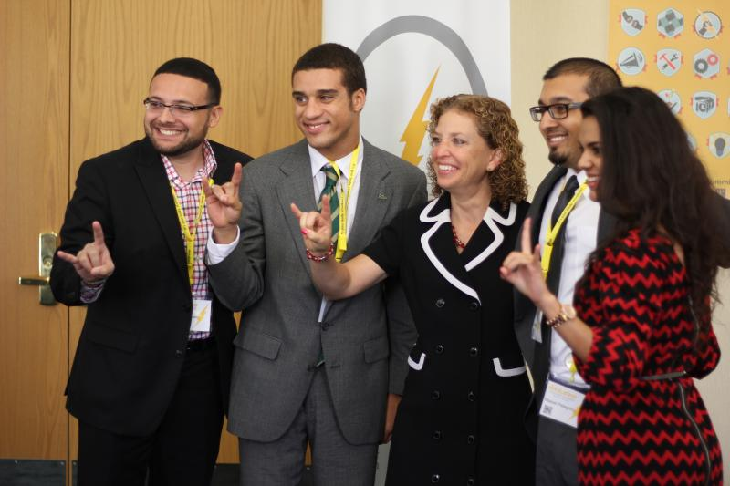South Florida Millennials met with Congresswoman Debbie Wasserman Schultz after she spoke at the summit.