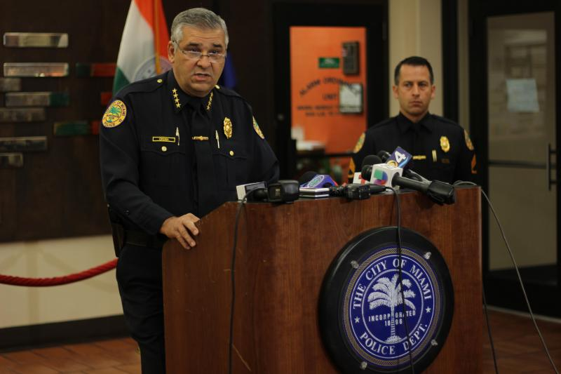 Police Chief Manuel Orosa at the news conference talking about the possible sanctions cyclists may face during Critical Mass.