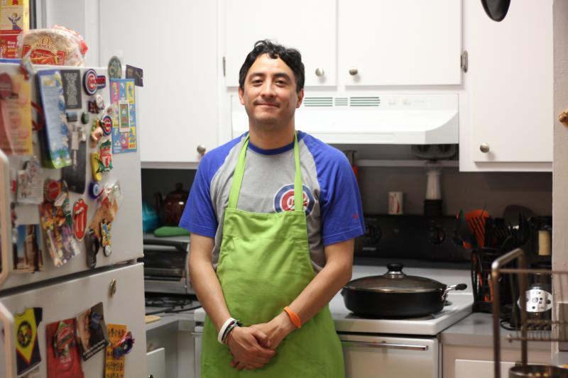 Ricardo Gutierrez loves to cook his mom's recipes. Red rice is one of them.