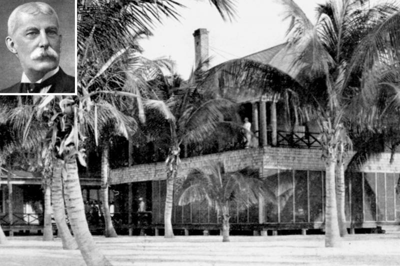 The lodge and dining hall of Henry Flager's (inset) Long Key resort.