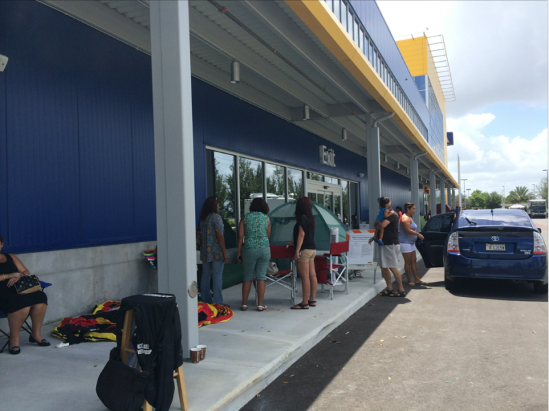 Some people have camped overnight waiting for the store to open.