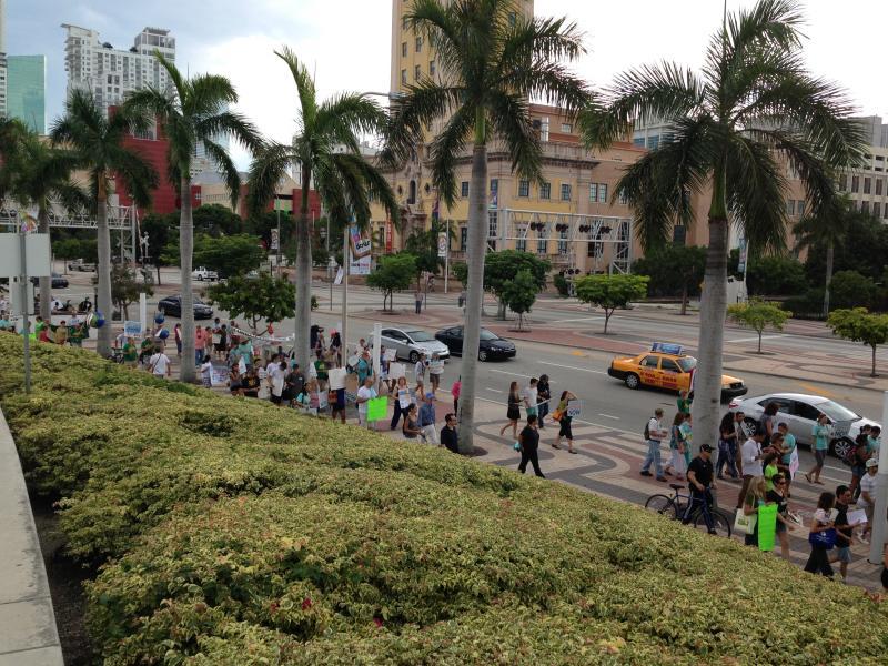The marchers walk along Biscayne Blvd.