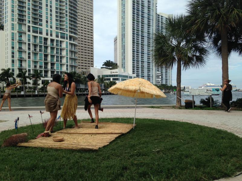 At the Miami Circle for the Tequesta Indians scene.
