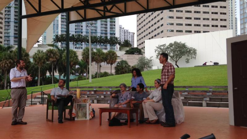 A spoof of ¿Qué Pasa, USA? at BayFront Park in downtown Miami.