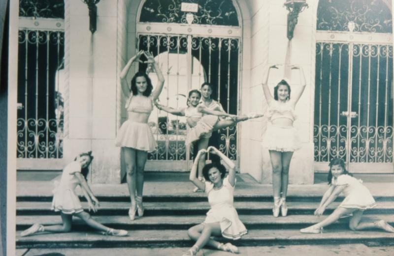 Judy's dance class in front of her old school, Central Beach Elementary. Now it's Fienberg-Fisher K-8. Can you find Judy?