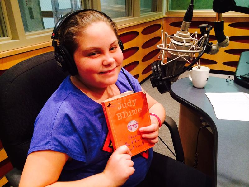 11-year-old Goldi Lieberperson in the WLRN studios to record passages from Starring Sally J. Freedman as Herself