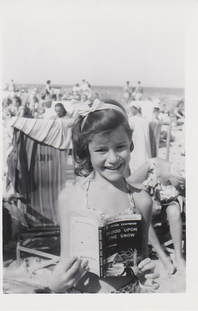 Judy doing some beach reading on Miami Beach