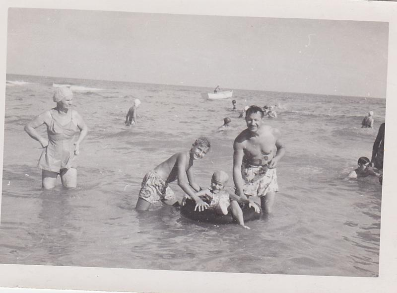 Judy with David and their dad, during one of his visits to Miami Beach.