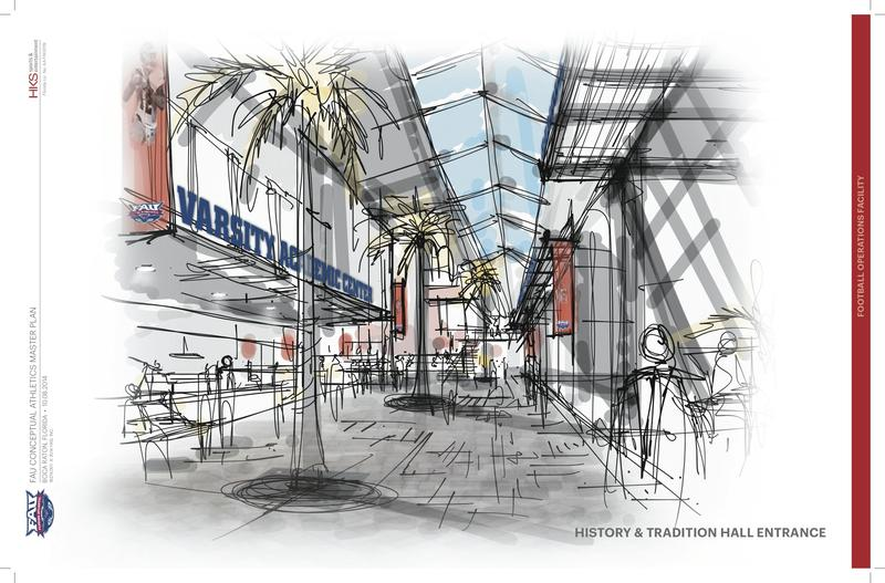 Artist renderings of The Complex's History and Tradition Hall entrance.