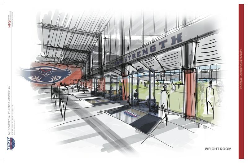 Artist renderings of The Complex's weight room.