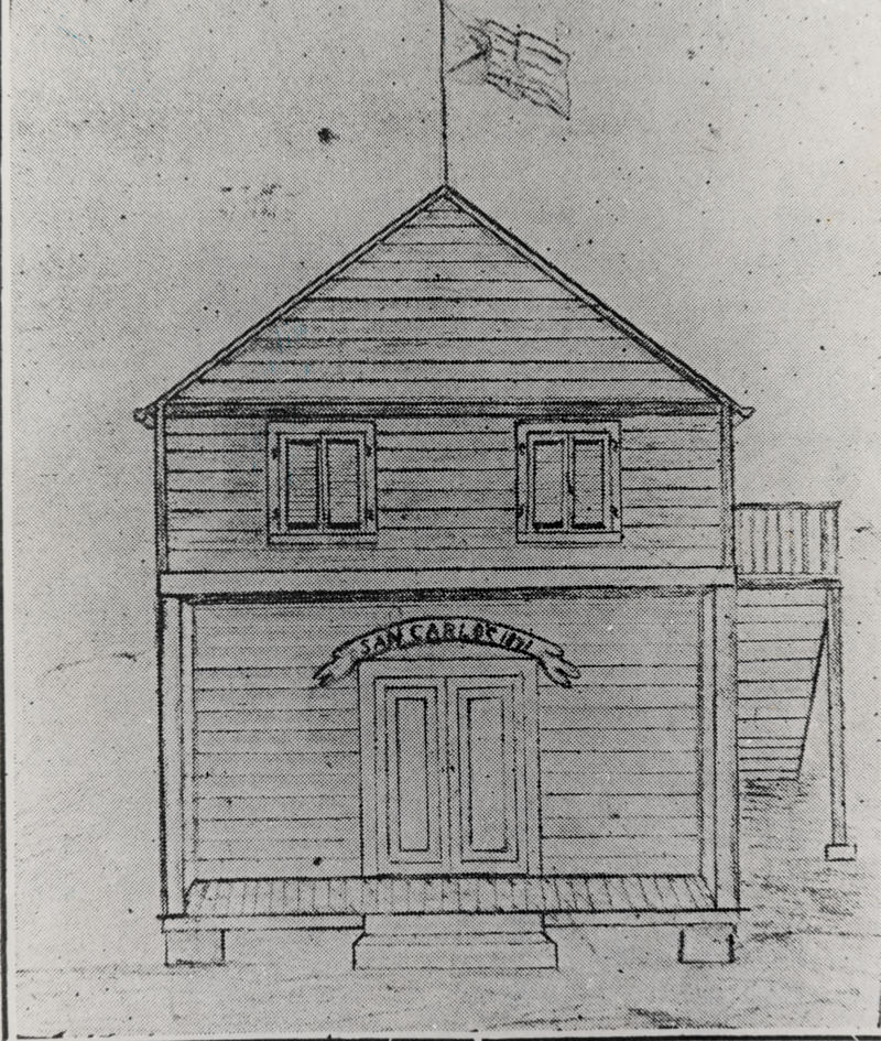A drawing of the original San Carlos Institute. It was on Fleming Street. After it burned down in 1886, a new structure was built on Duval Street, at its current location.