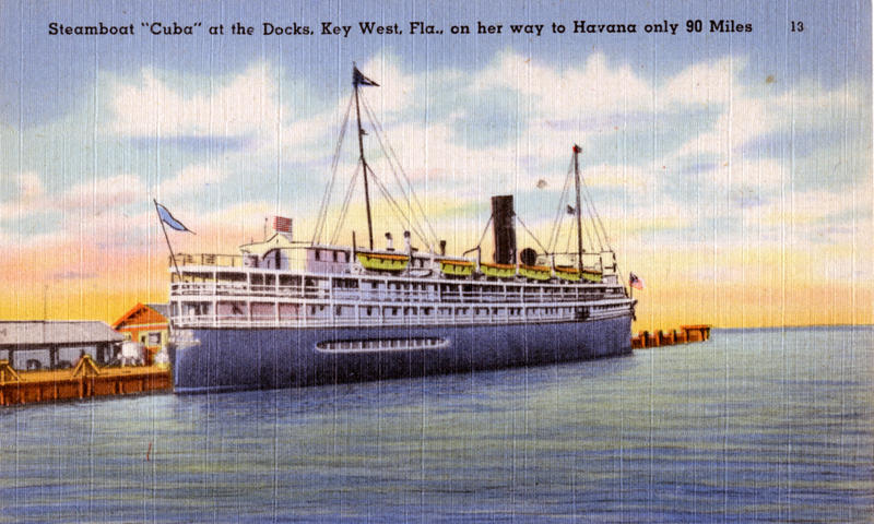 A postcard showing the steamship Cuba, which ran from Tampa to Key West and Havana.
