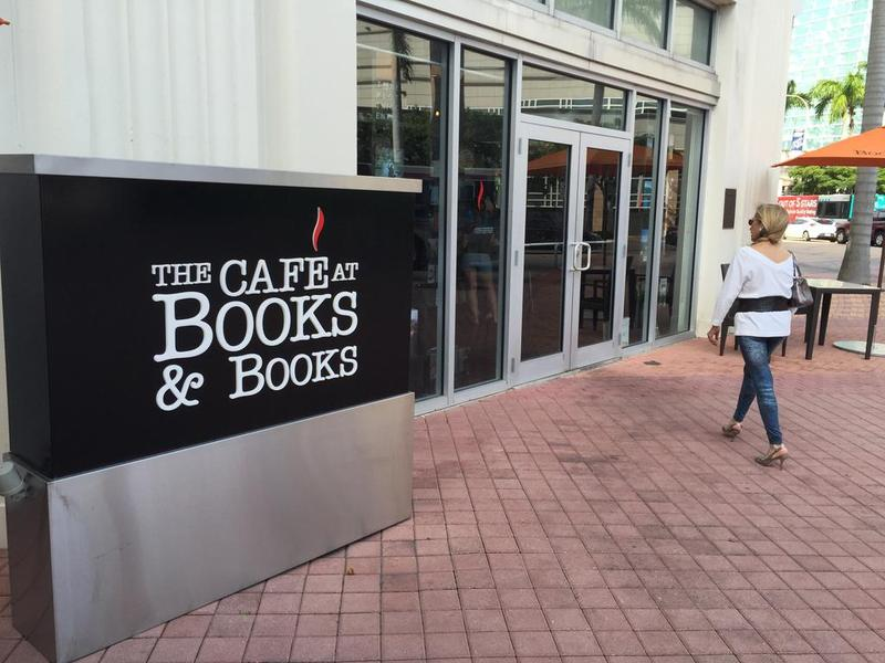 Bonnie Berman walks into the newly opened Café at Books and Books at Arsht Center