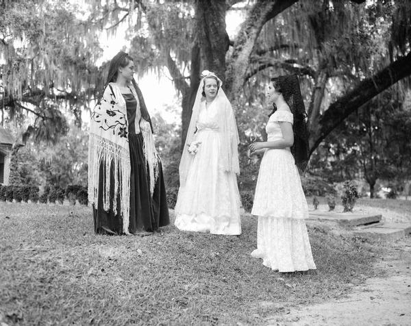 Young women in costume during the Tallahassee Trail event in 1949.