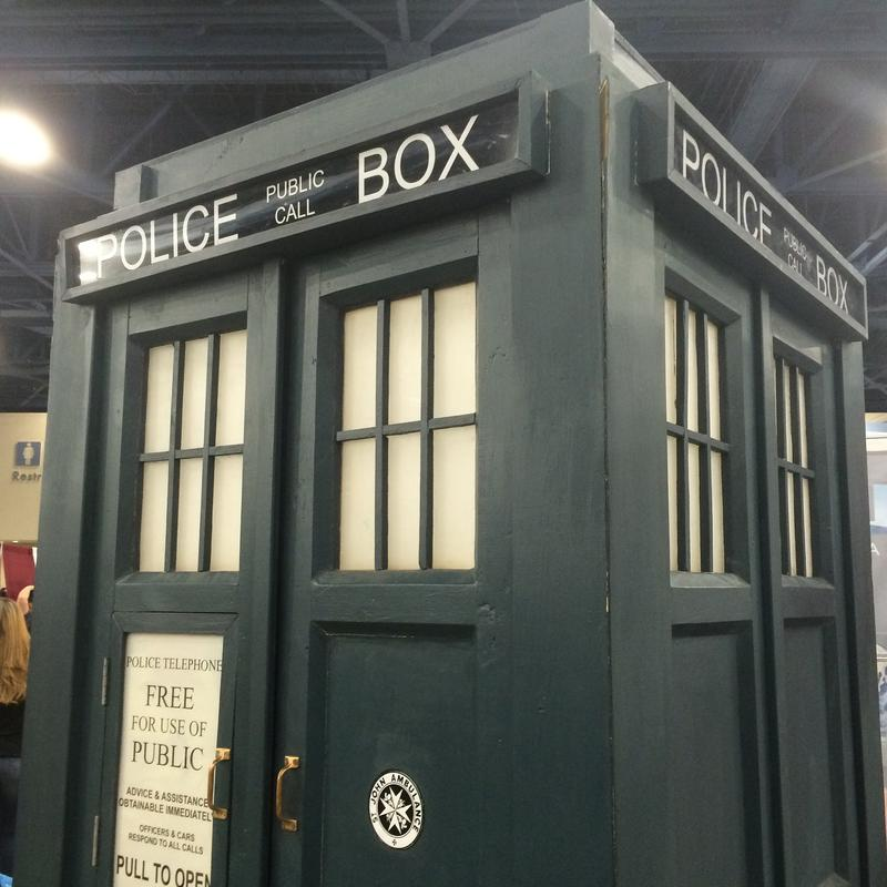 Doctor Who's time machine, called the TARDIS, from the popular BBC series. The replica was located at Florida SuperCon held this weekend in Miami Beach.