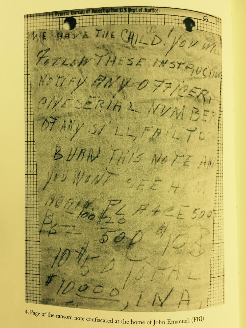 One of the first ransom notes found. This one discovered at the home of John Emanuel.