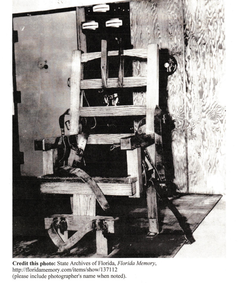Many states had an electric chair. Usually it was nicknamed 'Old Sparky' . Florida's chair was retired in 2000.