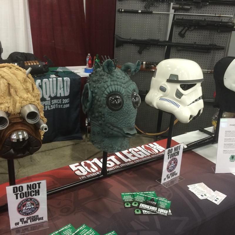 """Star Wars"" head gear replicas at Florida SuperCon in Miami Beach."