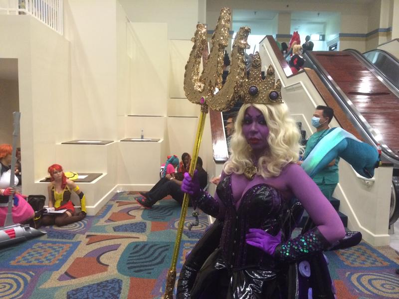 "Isabelle Scott from Miami Lakes is dressed as Ursula from Disney's ""The Little Mermaid."" She has a background in fashion and made this ""haute"" costume from scratch."