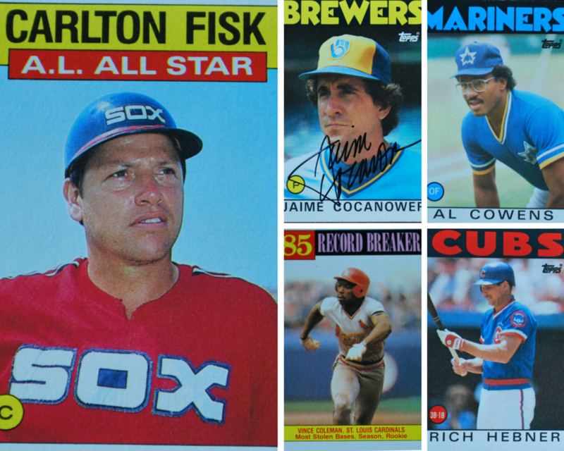 Carlton Fisk, White and Red Sox player (left), James Cocanower, pitcher (top center), Al Cowens, right fielder ( top right),  Vince Coleman,  St. Louis Cardinals player (bottom center), and Rich Hebner, third baseman (bottom right).