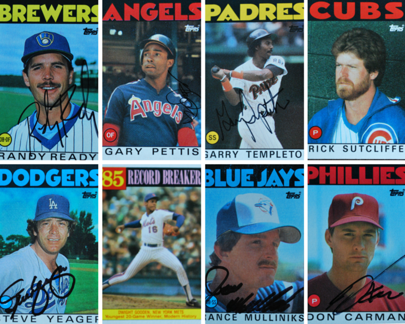 Top row, left to right: Randy Ready, utility player, Gary Pettis, center fielder, Garry Templeton, shortstop, Rick Sutcliffe, pitcher. Bottom row: Steve Yeager, catcher, Dwight Gooden, pitcher, Rance Mulliniks, utility infielder, and Don Carman, pitcher.