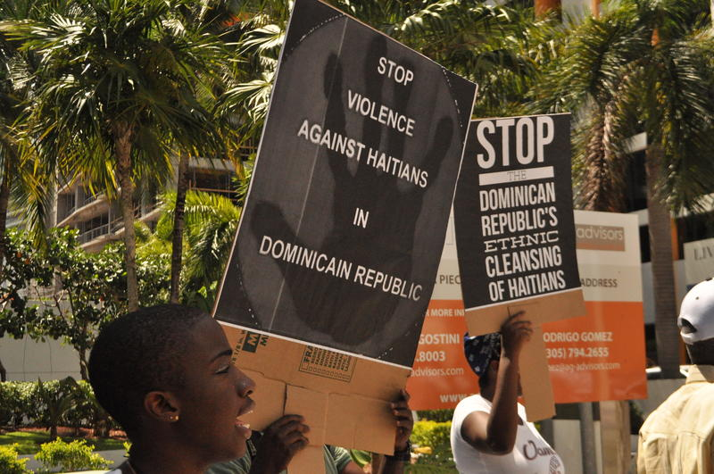 Protesters took to the streets of Miami to decry a Dominican ruling that leaves hundreds of thousands of Dominicans of Haitian ancestry stateless.