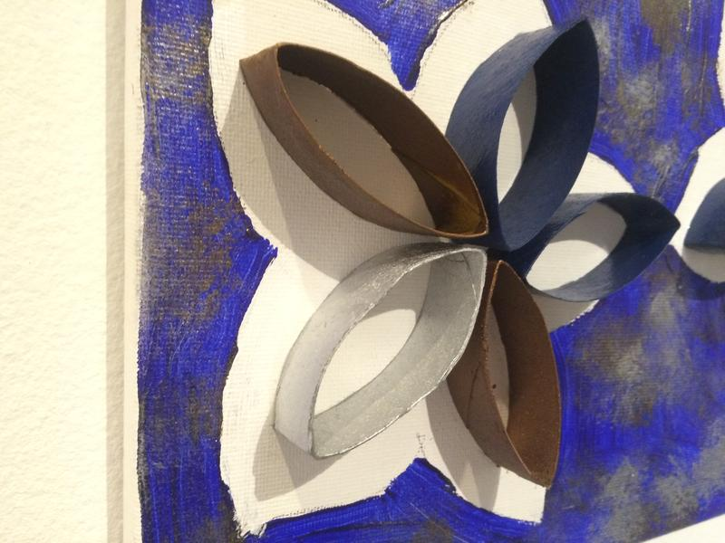 "Children with autism made ""Blue Daises"" that was displayed at the Pan American Art Projects Gallery in Wynwood Friday night. The Art for Autism brought children and professional artists with autism together for a fundraising event."