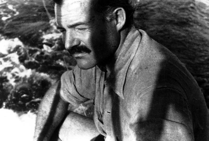 Close-up of Ernest Hemingway aboard his boat, Pilar.