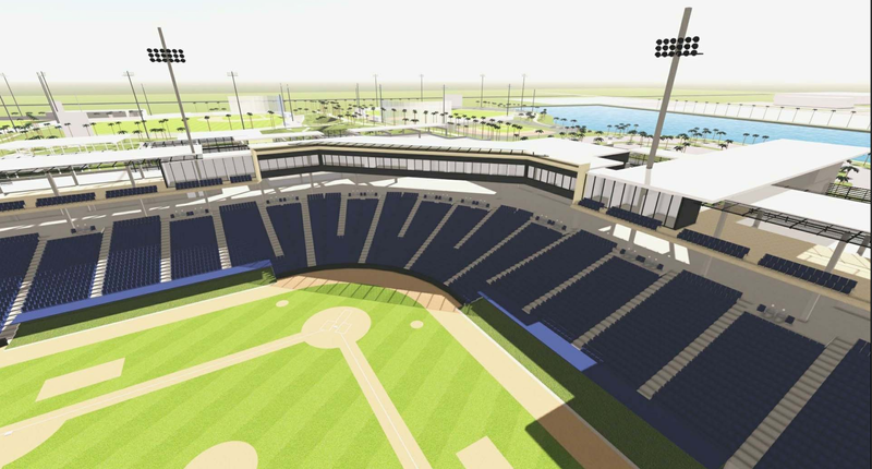 A preliminary rendering of the proposed spring training stadium in West Palm Beach.