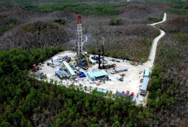 Aerial photo shows one of the existing oil drilling operations in the Big Cypress National Preserve. A company is asking state permission to drill a new well west of Broward County's suburbs.