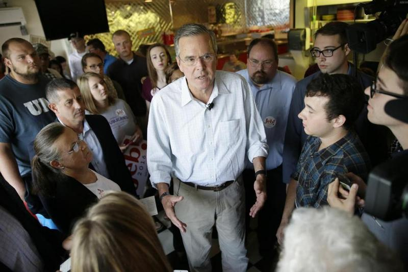 Jeb Bush speaks to supporters during a meet and greet with local residents at Gravy's Diner, Sept. 22 in Cedar Falls, Iowa.