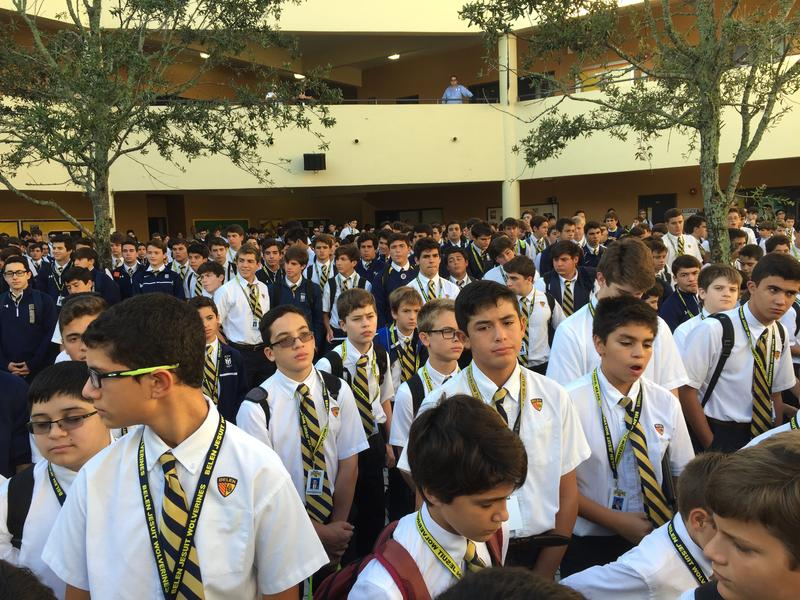 Hundreds of Belen Jesuit students gathered in the school central courtyard for a prayer assembly for Pope Francis' trip to Cuba and the U.S.