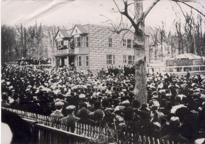 One of the historic meetings at the Botto House during the 1913 Paterson Silk Strike. Strikers called for safe working conditions, an end to child labor, and an eight-hour day.